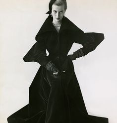 "Mary Jane Russell in a ""full-length evening coat with its own angles,"" from 1949. ""So geometrical is Charlie James,"" Virginia Woolf once wrote in a letter, ""that if a stitch is crooked . . . the whole dress is torn to shreds."""