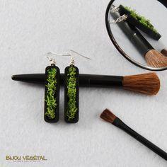Boucles d'oreille vertige noir avec lichen - bijou créateur, bijoux fait main…