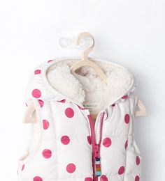 zara baby and kids stylish adorable cute white coat with pink polka dots