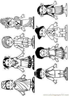 Best Coloring: Children from around the world coloring pages - Amazing Coloring sheets - Free Coloring Sheets, Free Printable Coloring Pages, Colouring Pages, Coloring Pages For Kids, Kids Coloring, Around The World Theme, Kids Around The World, Around The Worlds, Multicultural Crafts