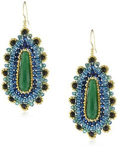 Miguel Ases Blue Gold Stone and Green Jade Teardrop Earrings Teardrop Earrings, Beaded Earrings, Beaded Jewelry, Jewellery, Green Earrings, Jade Green, Blue Gold, Jewelry Stores, Dangles