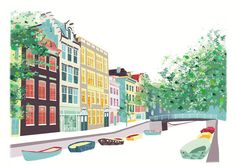 Amsterdam Skyline print, BloemGracht, Wall Art Print, Canal and Boat, Paper Poster Home, Office, Childs, Kids room and Nursery decor ASBPP01 by lauraamiss on Etsy https://www.etsy.com/listing/64432079/amsterdam-skyline-print-bloemgracht-wall