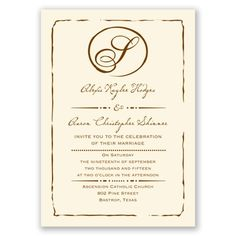initial inspiration wedding invitation shown on ecru. printed with gorgeous raised ink for less than $.90 an invitation. also available on white paper stock.