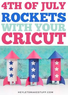 Decorate for the 4th of July on a budget with these paper rockets! These paper rockets can be cut on your Cricut or other cutting machine and assembled in minutes. Plus, get a free SVG template! Diy Projects For Beginners, Cool Diy Projects, Kid Projects, Project Ideas, 4th Of July Party, Fourth Of July, Diy Paper, Paper Crafts, Paper Rockets