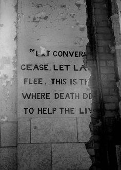 """Let conversation cease. Let laughter flee.  This is the place where death delights to help the living.""  Pilgrim State Psychiatric Hospital"