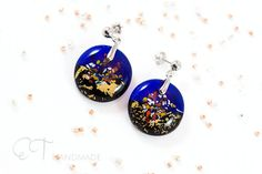Blue and gold Murano glass earrings  Unique Italian jewelry