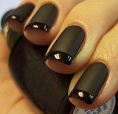 22 Black Nails That Look Edgy and Chic - A beautiful black twist on a French manicure. Cute Acrylic Nails, Matte Nails, Black Nails, Fun Nails, Matte Black, Black Manicure, Black Nail Designs, Nail Art Designs, Nagellack Trends