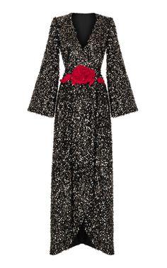 Deep V Sequin Gown by RASARIO for Preorder on Moda Operandi