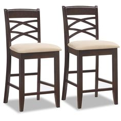 $155.80  for two   A deep, wenge wood finish on this unique Double Crossback design offers a visual treat on these sturdy counter stools.  Constructed of solid hardwood with a crowned seat padded for comfort and upholstered in contrasting Beige microfiber.