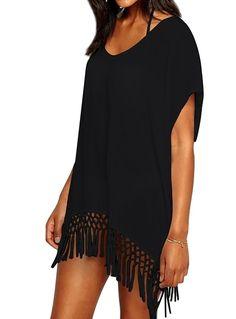 b82689b9eb9d3 Womens Chiffon Tassel Beachwear Stylish Swimwear Bikini Swimsuit Cover up -  H- Black - CW1805ZUI5W