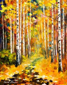 "Tall Birches — PALETTE KNIFE Landscape Modern Wall Art Textured Oil Painting On Canvas By Leonid Afremov - Size: 20"" x 24"" (50 cm x 60 cm) by AfremovArtStudio on Etsy https://www.etsy.com/listing/218071986/tall-birches-palette-knife-landscape"