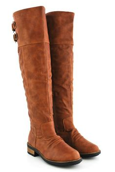 Cognac distressed riding boots - $42