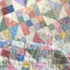Vintage Quilt Handmade Pastel Quilted Blanket Bedspread Patchwork by GardenBarn on Etsy Vintage Quilts, Vintage Sewing, Vintage Milk Bottles, Photo Quilts, Postage Stamp Quilt, Fall Quilts, Quilts For Sale, Swirl Design, Quilt Bedding