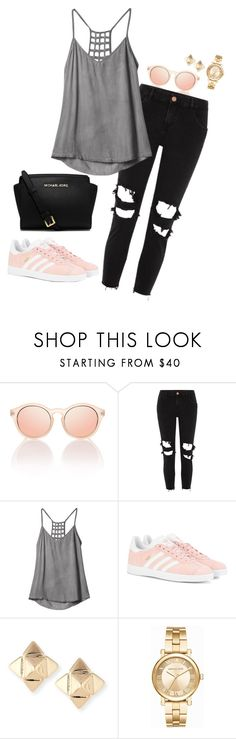 """Outfit 102"" by caa123 ❤ liked on Polyvore featuring Le Specs, River Island, RVCA, adidas Originals, Valentino and Michael Kors"