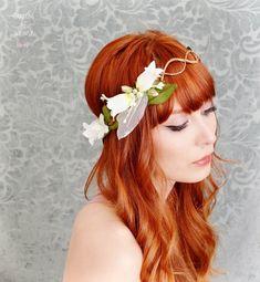 Floral Head Wreaths for Brides   White flower crown, wedding headband, fairy circlet, bridal head piece ...