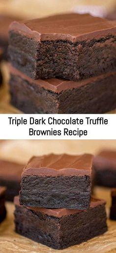 Triple Dark Chocolate Truffle Brownies Recipe – Sanji Recipe