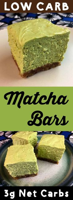 """These low carb matcha (green tea) cheesecake bars have a pecan crust and a lovely green matcha cheesecake filling.  I would call it """"no bake cheesecake"""" but you actually do bake the crust so... I won't.  The best part is that they clock in at only 3g net carb per bar.  Not bad for a low carb dessert.  #lowcarb #keto #ketogenic #atkins #lchf #dessert #recipe #healthy"""