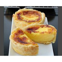 Portuguese Egg Tarts with Frozen Puff Pastry Large Egg Yolks Caster Sugar Vanilla Extract Heavy Cream Milk. Custard Recipes, Puff Pastry Recipes, Tart Recipes, Pudding Recipes, Baking Recipes, Egg Recipes, Gourmet Desserts, Delicious Desserts, Dessert Recipes