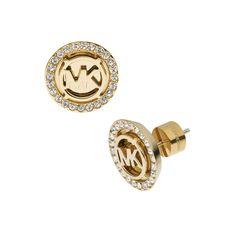 Michael Kors Logo Pave Stud Golden Earrings #MK #Trends