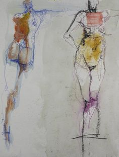 rendering  of two abstract female nudes done in watercolor, charcoal, and colored pencil