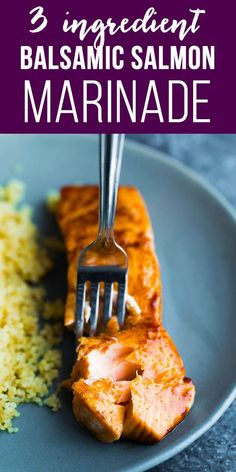 salmon recipes This simple balsamic salmon marinade has just 3 ingredients, and gets dinner on your table in no time. Plus my new favorite method for perfect baked salmon! via sweetpeasaffron Baked Salmon Recipes, Fish Recipes, Seafood Recipes, Dinner Recipes, Cooking Recipes, Healthy Recipes, Meatball Recipes, Mexican Recipes, Fish Marinade