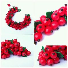 Bracelet with red currants. Made by hand from polymer clay. Author Polynastudio