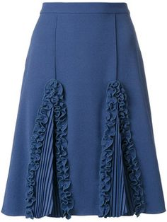 Marco De Vincenzo ruffled detail a-line skirt Pencil Skirt Casual, Pencil Skirt Outfits, Sweater Dress Outfit, Office Outfits, African Fashion, African Style, A Line Skirts, Cute Dresses, Designer Dresses