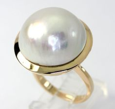 Vintage Mobe pearl ring yellow gold 20 MM by adinajewelers Gold Rings, Gemstone Rings, Pearl Rings, Gems Jewelry, Jewellery, Vintage Pearls, Silver Rounds, Birthstones, Diamonds