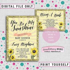 """Baby Shower Invite & Bring A Book Card """"My Sunshine"""" (Printable File Only) You Are My Sunshine Sunflower Sunburst Yellow Faux-Glitter Gold"""