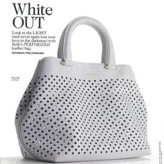 Bally white perforated handbag
