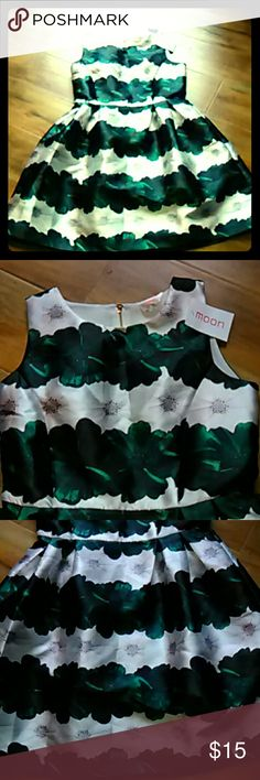 Moon collection dress Medium gorgeous green and white flare dress it has spring flowers and white flowers on it is absolutely stunning brand new with tags fully lined 35 inches long Moon Collection Dresses Midi
