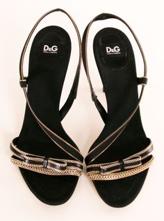 D&G Satin Heels with Gold Chain Trim @Pascale De Groof