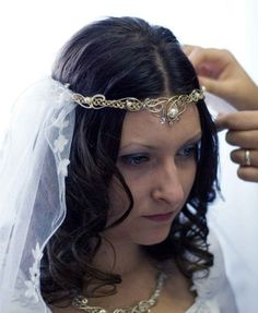 Sabrina Circlet Headpiece Wedding Bridal Celtic by ElnaraNiall, $289.99  I like that one.