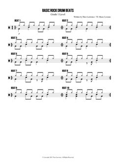 10 Basic Rock Drum Beats sheet music