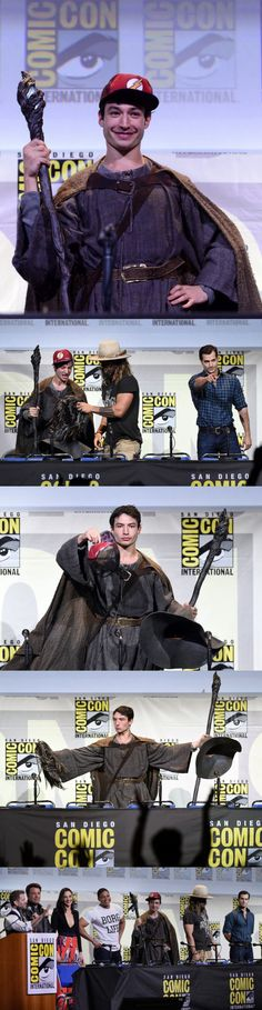 Ezra Miller attending the JUSTICE LEAGUE panel at Comic-Con, dressed as Gandalf
