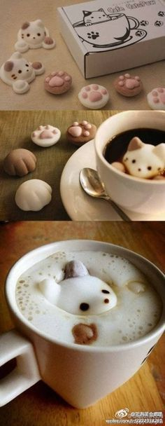 "Cotton candy store from Japan ""や は da wa"" - marshmallows can be directly consumed, put into coffee or tea and other beverages to float ~ Cutest thing ever!"