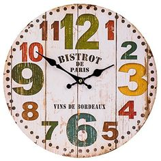 Schmuckbox Vintage France Paris Colorful French Country Tuscan Style Non-Ticking Silent Wood Wall Clock >>> Discover this special product, click the image : home diy wall Wall Clock Wooden, Rustic Wall Clocks, Wooden Walls, Diy Clock, Clock Decor, Paris Wall Decor, Br House, Wall Clock Silent, Kitchen Wall Clocks