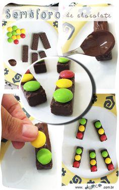 Semáforo de chocolate Fácil de fazer e combinam com festas de temas carros, Hot Wheels, transportes
