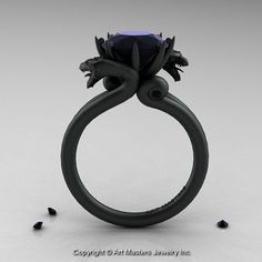 Modern Dragon 14K Matte Black Gold 3.0 Ct Black Diamond Engagement Ring R601-14KMBBD