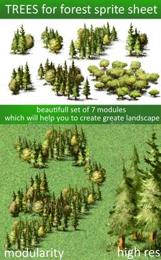 Trees sprite sheet for 2d or isometric — Vector EPS #background #tree • Available here → https://graphicriver.net/item/trees-sprite-sheet-for-2d-or-isometric/13433335?ref=pxcr