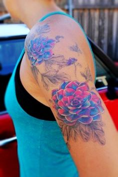 Beautiful chrysanthemum watercolor Tattoos on the half sleeve - pink and blue