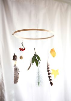Diy Leaves & Feather Mobile