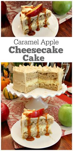 Caramel Apple Cheesecake Cake Recipe : two layers of apple cake with a layer of cheesecake in the middle.  All covered with caramel frosting.  Great brunch dessert and fall holiday parties!