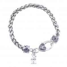 Sigma Kappa Bracelet with Heart Clasp #sorority #sigmakappa
