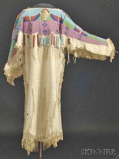 Nez Perce, Dress, Beaded Hide, Fringed, 1900 - 1925