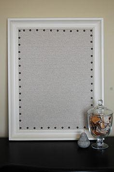 DIY (burlap) Bulletin Board with nailhead trim. Foam board and cork board