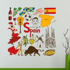 Spain illustration wall sticker of UEFA EURO 2016