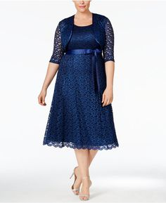 R & M Richards Plus Size Sequined Lace Dress and Jacket
