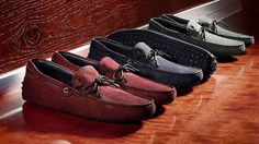 Tod's Men's Autumn Winter 2013-2014 Collection. #Gommino driving #moccasins in bold colors with metal tip braided leather ties.