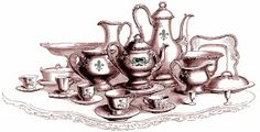 **FREE ViNTaGE DiGiTaL STaMPS** - Tea Set, free printable...
